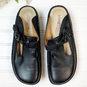 Alegria Classic Black Napa Leather Clog Size 39